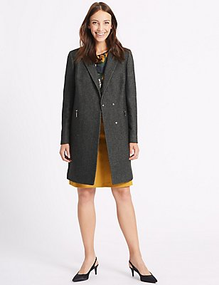 2 Pocket Textured Coat, CHARCOAL, catlanding