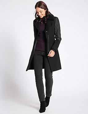 Hybrid Sleeve Coat, BLACK, catlanding