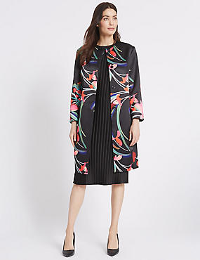Abstract Floral Print Coat, BLACK MIX, catlanding