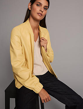 Leather Bomber Jacket, PALE YELLOW, catlanding