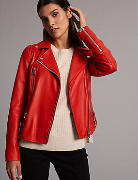 Leather Biker Coat, POPPY, catlanding