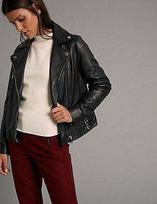 Leather Biker Coat, BLACK, catlanding