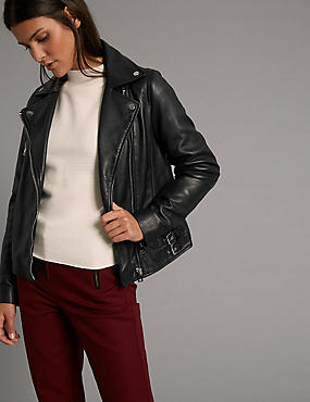 Leather Biker Coat, BLACK, catlanding
