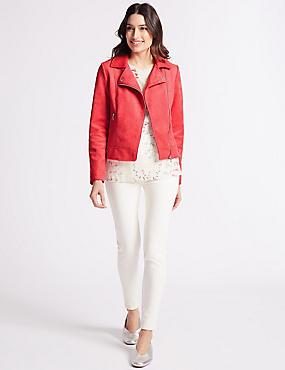 Cross Zip Biker Jacket, Pink, catlanding