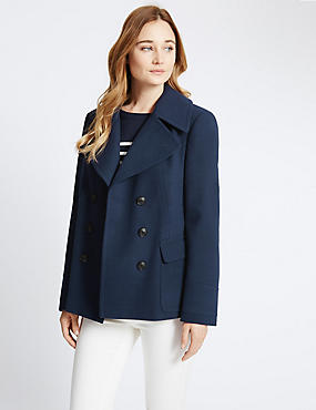 Double Breasted Peacoat, NAVY, catlanding