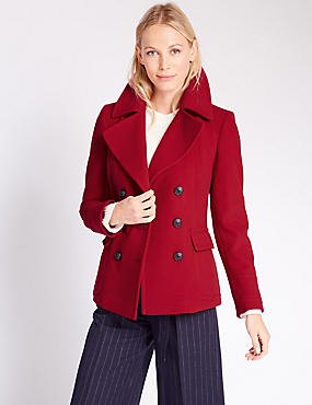 Double Breasted Peacoat, LACQUER RED, catlanding