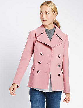 Double Breasted Peacoat, DUSTED PINK, catlanding