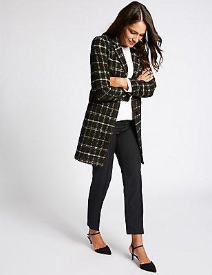 Checked Tweed Pocket Coat, BLACK MIX, catlanding