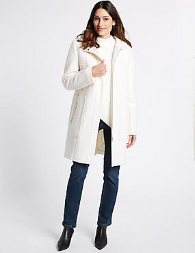 Boucle Hooded Coat, IVORY, catlanding