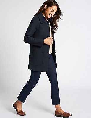 Wool Blend Patch Pocket Coat, NAVY, catlanding