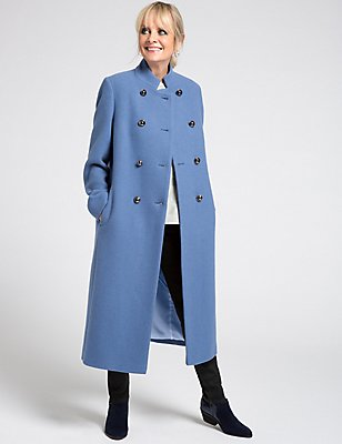 Wool Blend Coat, PRUSSIAN, catlanding