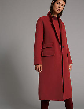 Wool Blend Coat, DARK RED, catlanding