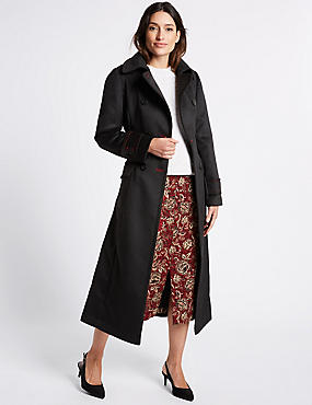 Patch Pocket Trench Coat with Belt, BLACK, catlanding