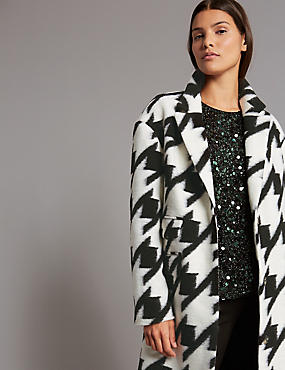 Wool Blend Dogtooth Print Coat, BLACK MIX, catlanding