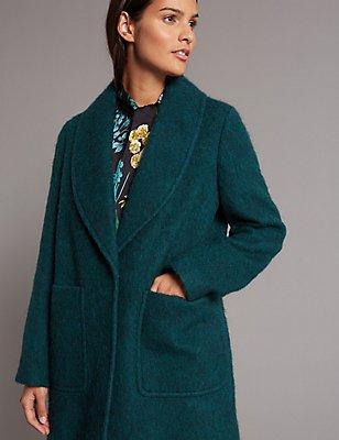 Manteau à encolure texturée , BLEU CANARD, catlanding