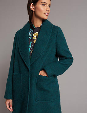 Textured Collared Neck Coat , TEAL, catlanding