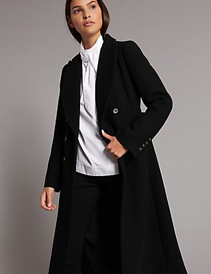 Wool Blend Coat, BLACK, catlanding