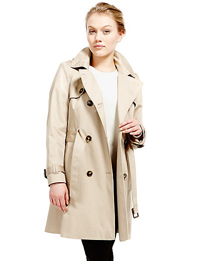 PETITE Pure Cotton Hooded Trench Mac with Stormwear™ | M&S