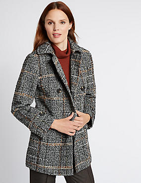 Long Sleeve Checked Coat , GREY MIX, catlanding
