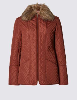 Стёганая утеплённая куртка Stormwear™ с искусственным воротником от Marks & Spencer