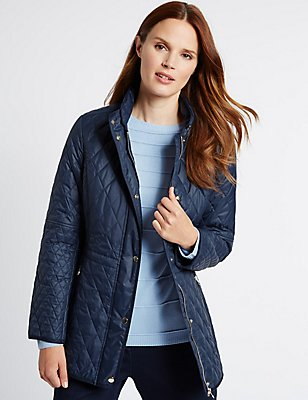 Longline Quilted Coat with Stormwear™, NAVY, catlanding