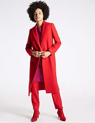 Double Breasted Longline Coat, RED, catlanding