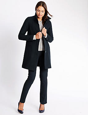Single Breasted 2 Pocket Coat, NAVY, catlanding