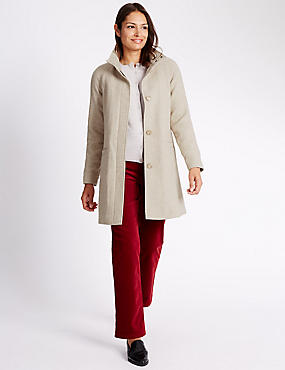 Single Breasted 2 Pocket Coat, IVORY MIX, catlanding