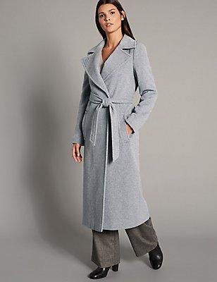 Wool Rich Wrap Coat, GREY, catlanding
