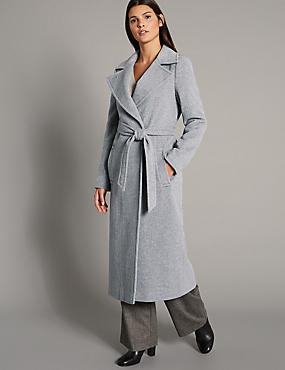 Wool Rich Wrap Coat, GREY, catlanding