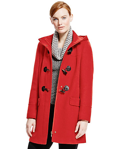 Hooded Duffle Coat with Wool   M&S