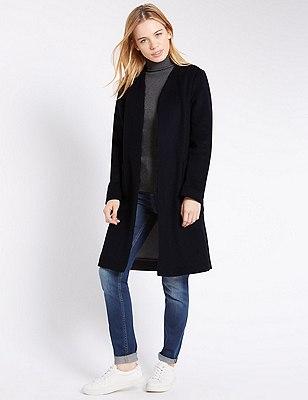 PETITE Double Face Coat with Wool , NAVY MIX, catlanding