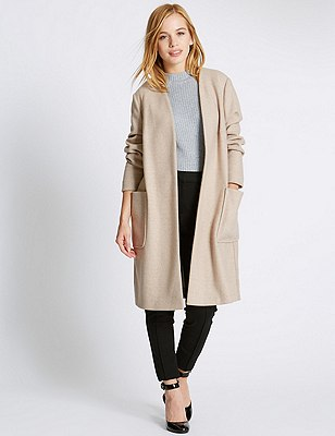 PETITE Double Face Coat with Wool , NATURAL MIX, catlanding
