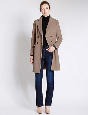 Wool Blend Double Breasted Overcoat with Cashmere, CAMEL, catlanding