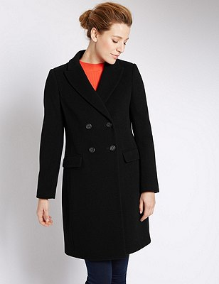 Wool Blend Double Breasted Overcoat with Cashmere, BLACK, catlanding