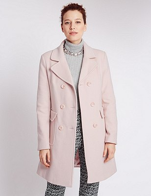 Wool Blend Double Breasted Overcoat with Cashmere, BLUSH PINK, catlanding