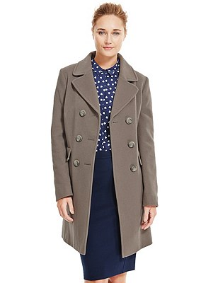 Wool Blend Double Breasted Overcoat with Cashmere, MINK, catlanding