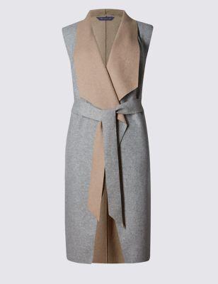Двустороннее пальто без рукавов с добавлением шерсти