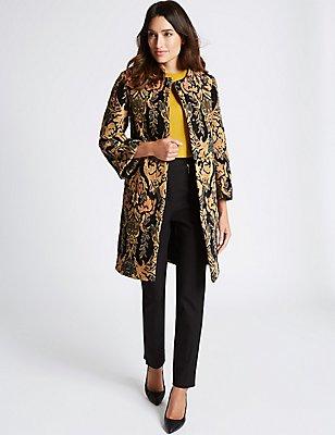 Katoenrijke jas met ingeweven motief, MULTI, catlanding