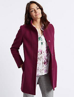 Funnel Neck Coat, RUBY, catlanding
