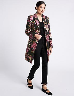 Floral Jacquard Coat, PINK MIX, catlanding
