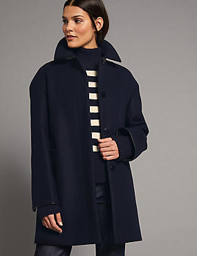 Wool Rich Peacoat, NAVY, catlanding