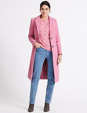 Single Breasted Coat, PINK, catlanding