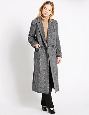 PETITE Button Through Overcoat, GREY MIX, catlanding
