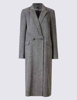 """Длинное пальто в """"гусиную лапку"""" M&S Collection T491407"""