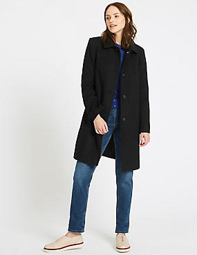 Patch Pocket Coat, BLACK, catlanding