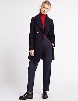 Wool Blend Contrasting Edge Peacoat, NAVY, catlanding