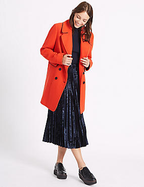 Wool Blend Contrasting Edge Peacoat, ORANGE, catlanding