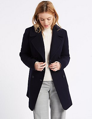 Wool Blend Coat, NAVY, catlanding