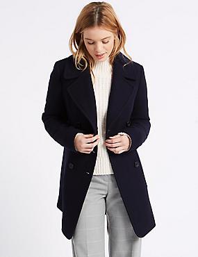 Wool Blend Coat, NAVY, catlanding